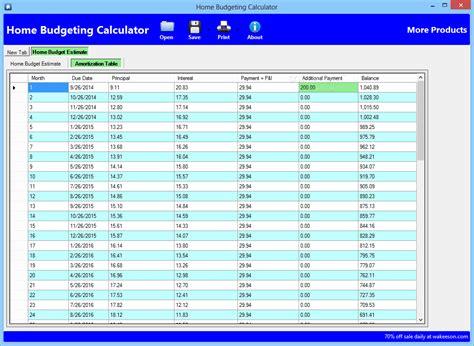 home budgeting calculator
