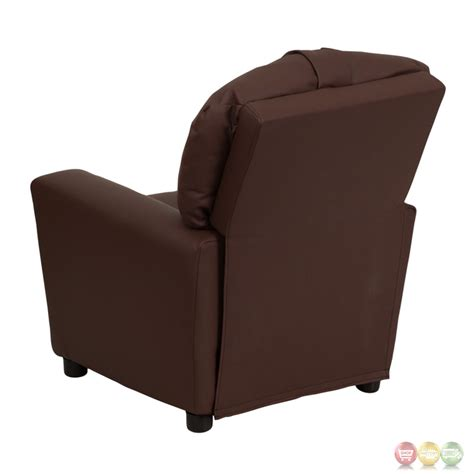 childs recliner with cup holder contemporary brown leather kids recliner with cup holder