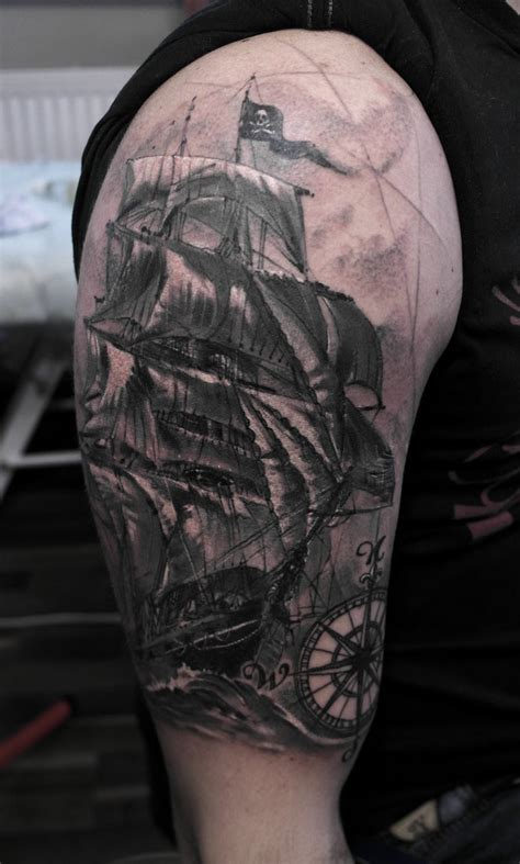 pirate ship sleeve tattoo designs awesome grey pirate ship