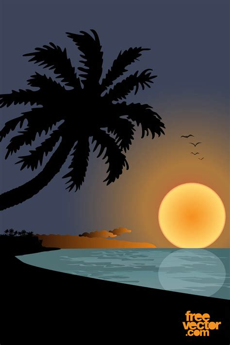 sunset  beach graphics