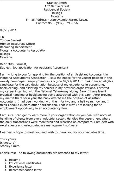Accounting Assistant Cover Letter 10 sle resume accounting cover letter for writing