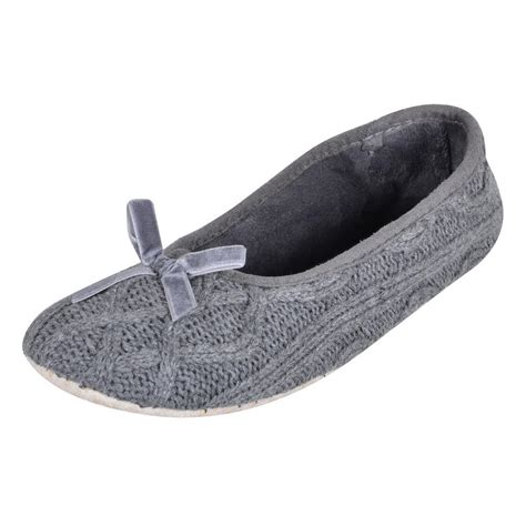 slipper material grey cable knitted ballet slippers fabric non slip sole