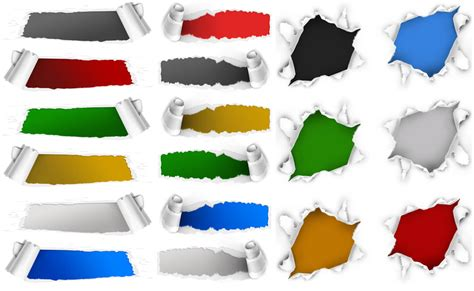 templates of photoshop 3 sets with 18 ripped paper holes psd templates for
