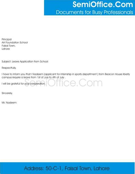 letter of application leave letter application format for school