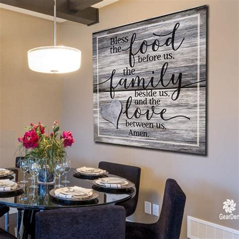 canvas wall art bless  food family love amen quote
