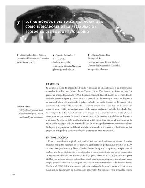 (PDF) Los artrópodos del suelo y la hojarasca como