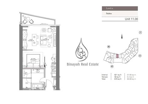 floor plan business kempinski residences 1 bedroom hotel apartment level 2
