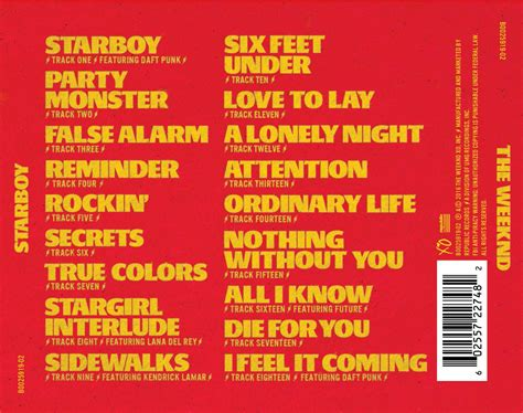 cd song list template weeknd starboy tracklist that grape juice