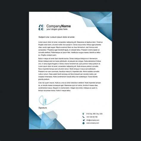 Business Letterhead Vector Polygonal Shapes Letterhead Design Vector Free