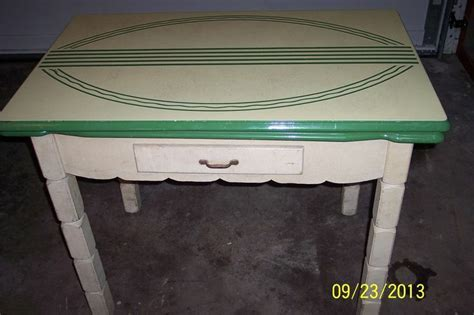 vintage white green porcelain enamel top kitchen table