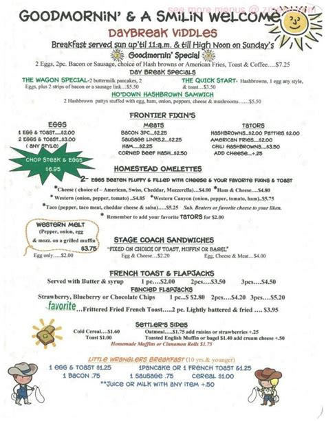 menu of covered wagon restaurant restaurant