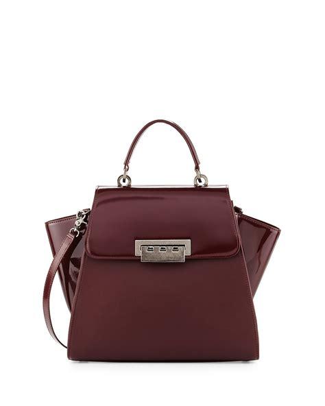 Zac Posen Purse by Zac Zac Posen Eartha Patent Leather Satchel Bag In Brown