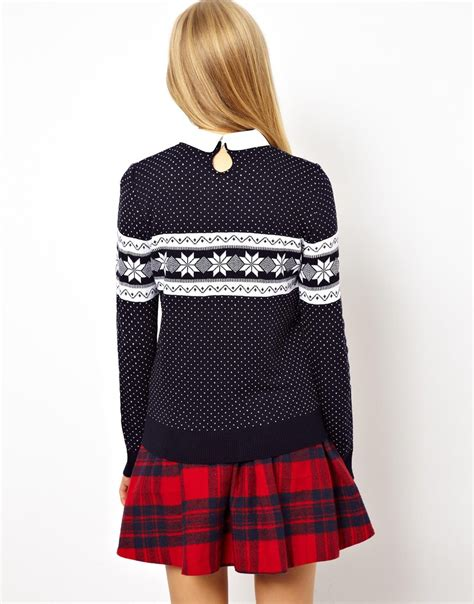 snowflake pattern jumper asos jumper in snowflake pattern with collar in blue lyst