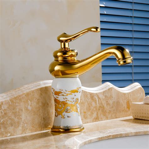 Bathroom Fixtures Gold Finish Roubaix Single Handle Gold Finish Bathroom Sink Faucet