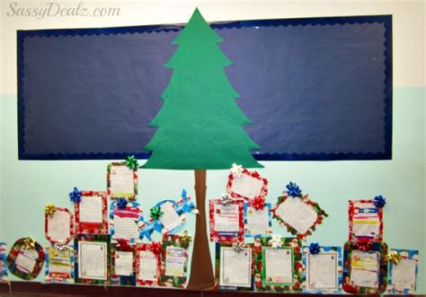 paper christmas tree bulletin board diy tree presents classroom bulletin board idea crafty morning