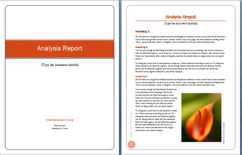 analysis report cover and content word template helloalive