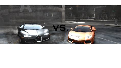 Bugatti Vs Lamborghini Gta Iv Lamborghini Aventador Vs Bugatti Veyron