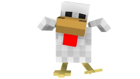 Minecraft Papercraft Chicken - rig minecraft chicken 3d c4d