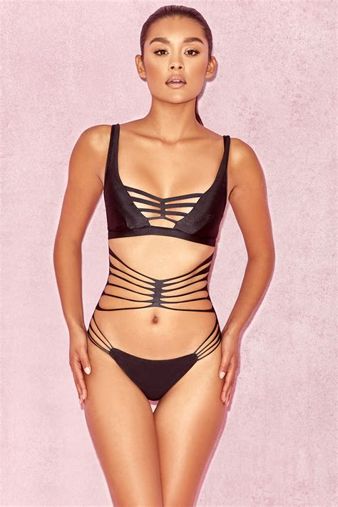 Strappy Swim Suit clothing swimwear black strappy one