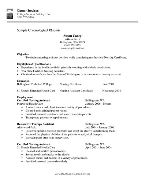 Exle Of Nursing Resume by Cna Resume Exle 28 Images Cna Certified Nursing