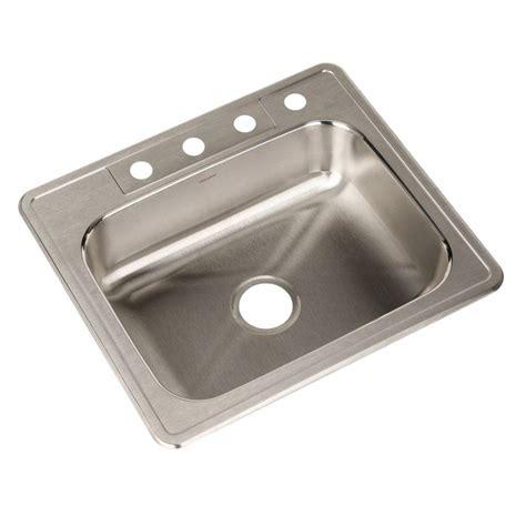 Houzer Kitchen Sink Houzer Glowtone Series Drop In Stainless Steel 25 In 4 Single Bowl Kitchen Sink A2522