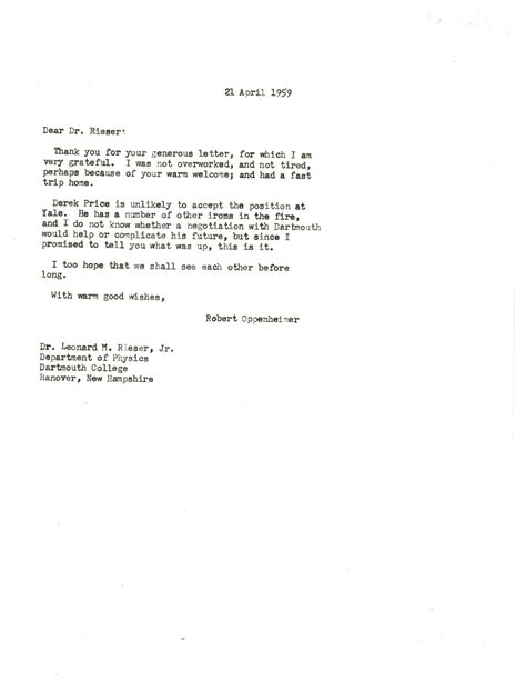 Request Letter For Industrial Trip Letter From Robert Oppenheimer Princeton To Robert Huke Dartmouth College 21
