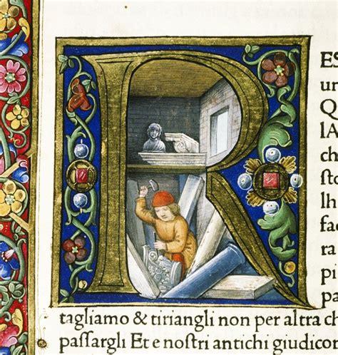 miniature medievali lettere la bottega dello scultore folia