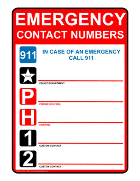 Emergency Numbers Card Template by Emergency Contact 911 Sign Nhe 14095 300 Gif 300 215 388