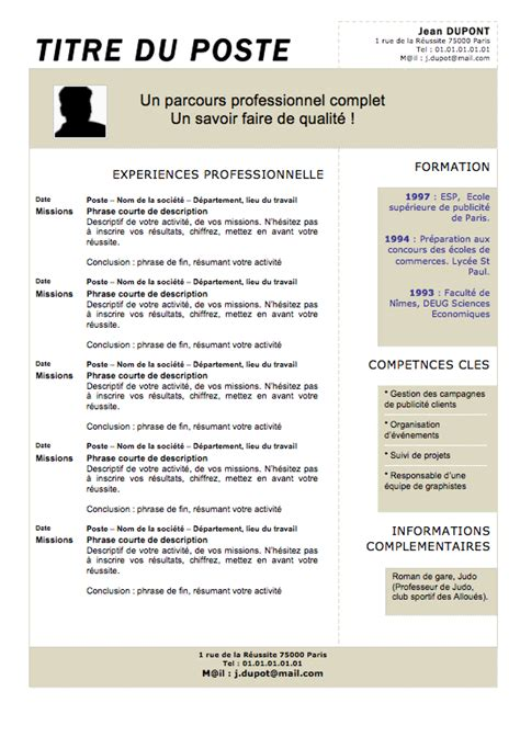 Exemple Type De Cv by Exemple De Cv Type Memoireveritejustice