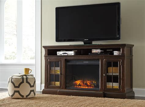 Brown Fireplace by Roddinton Xl Tv Stand W Infrared Fireplace In Brown