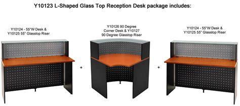 glass top reception desk l shaped glass top reception desk