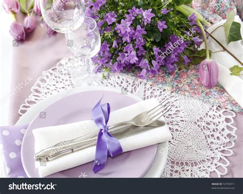 the color purple setting table setting purple color 3 stock photo 72755911