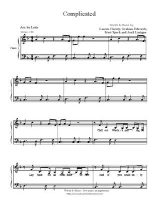 Complicated (3) - Avril Lavigne Free Piano Sheet Music PDF