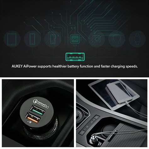 Mg Aukey Usb Car Charger 2 Port 36w With Qualcomm Charge 2 0 M aukey cc t7 36w 2 port usb car charger charge 3 0