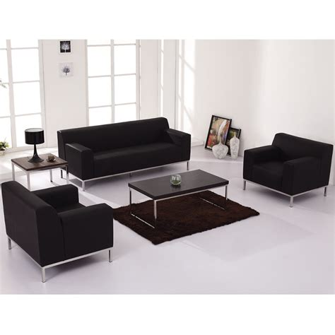 office sofa set contemporary black leather commercial sofa with stainless