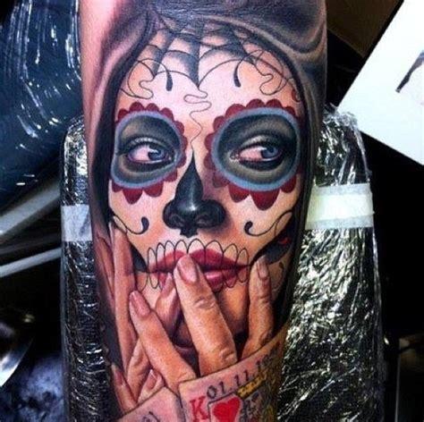sugar skull face tattoo 40 sugar skull meaning designs