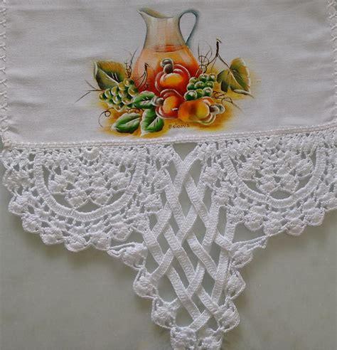 bicos de croch elo7 pano de prato pintado e com croche estanislava zelinski