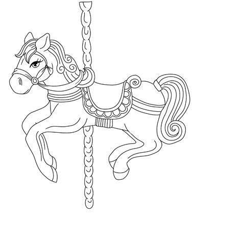carousel horse outline www pixshark com images