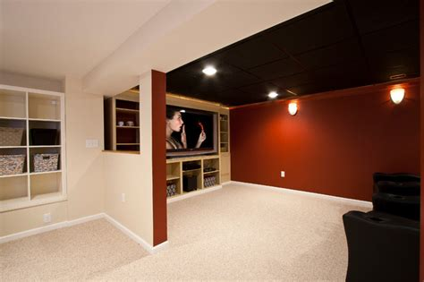 Small Home Theatre In Basement Theater Room In A Small Basement Remodel Traditional
