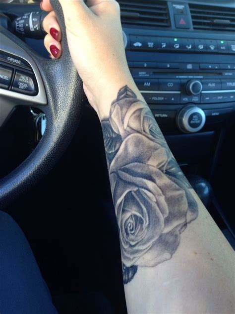 black rose wrist tattoo black and grey cover up done by