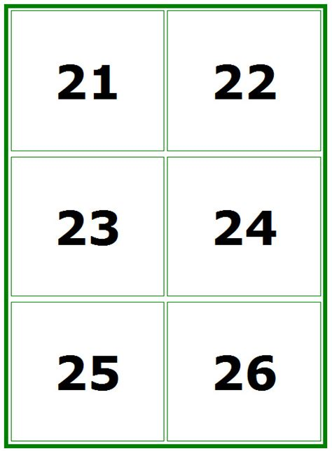 Printable Numbers Cards 1 100 | 7 best images of printable number flash cards 1 100
