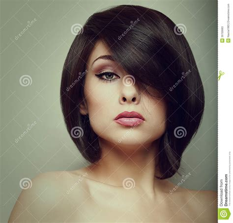 Makeup Beautiful Woman Face With Short Hair Style Stock
