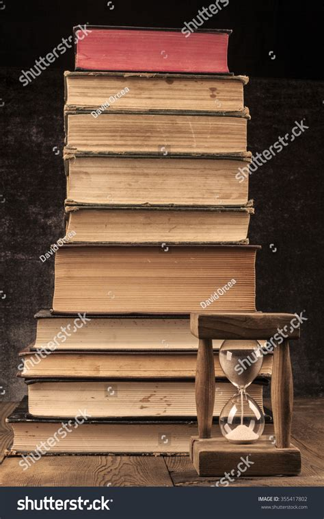 antique woodworking books books pile on wood table stock photo 355417802