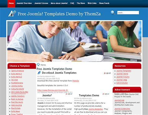 templates for school website free download high school free template for joomla 1 5 187 scriptmafia org