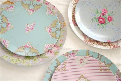 shabby chic set of 4 melamine plate 8 inch 68 00 via etsy stuff i love pinterest