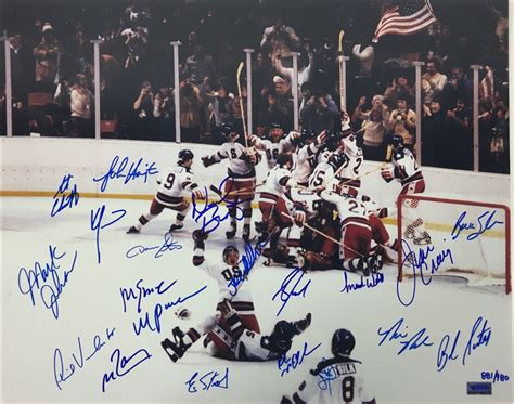 Miracle Hockey Free Lot Detail 1980 Us Hockey Quot Miracle On Quot Team Signed 16 Quot X 20 Quot Color Photo 20 Signatures Jsa