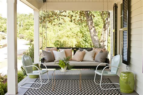 outdoor front porch rugs chevron print rug transitional porch southern living