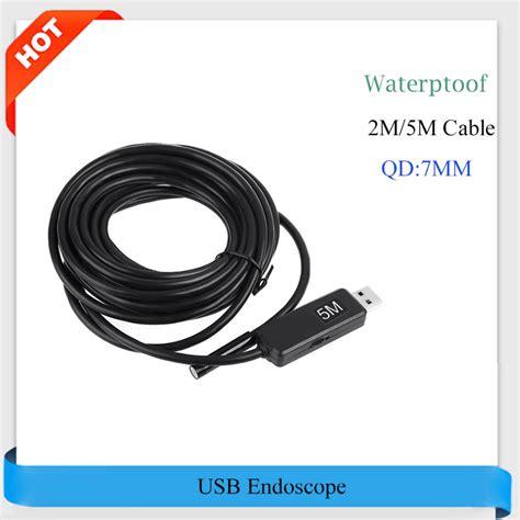 Endoscope Kabel 2m Usb Waterproof 6led 7mm usb endoscope ip67 waterproof 6 white led 2m 5m snake inspection mini