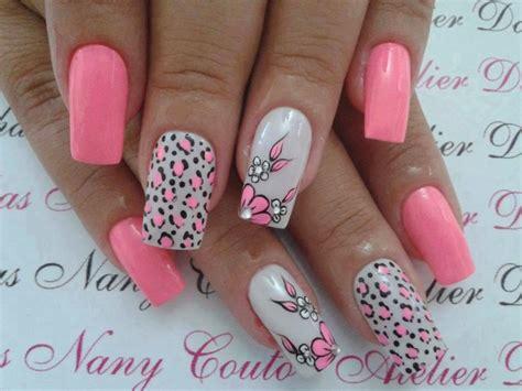 nägel blumen unhas de rosa leopardo e flores dicas femininas