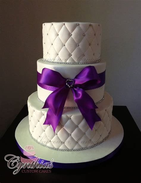 making quilted pattern fondant white and purple wedding cake all fondant cakes